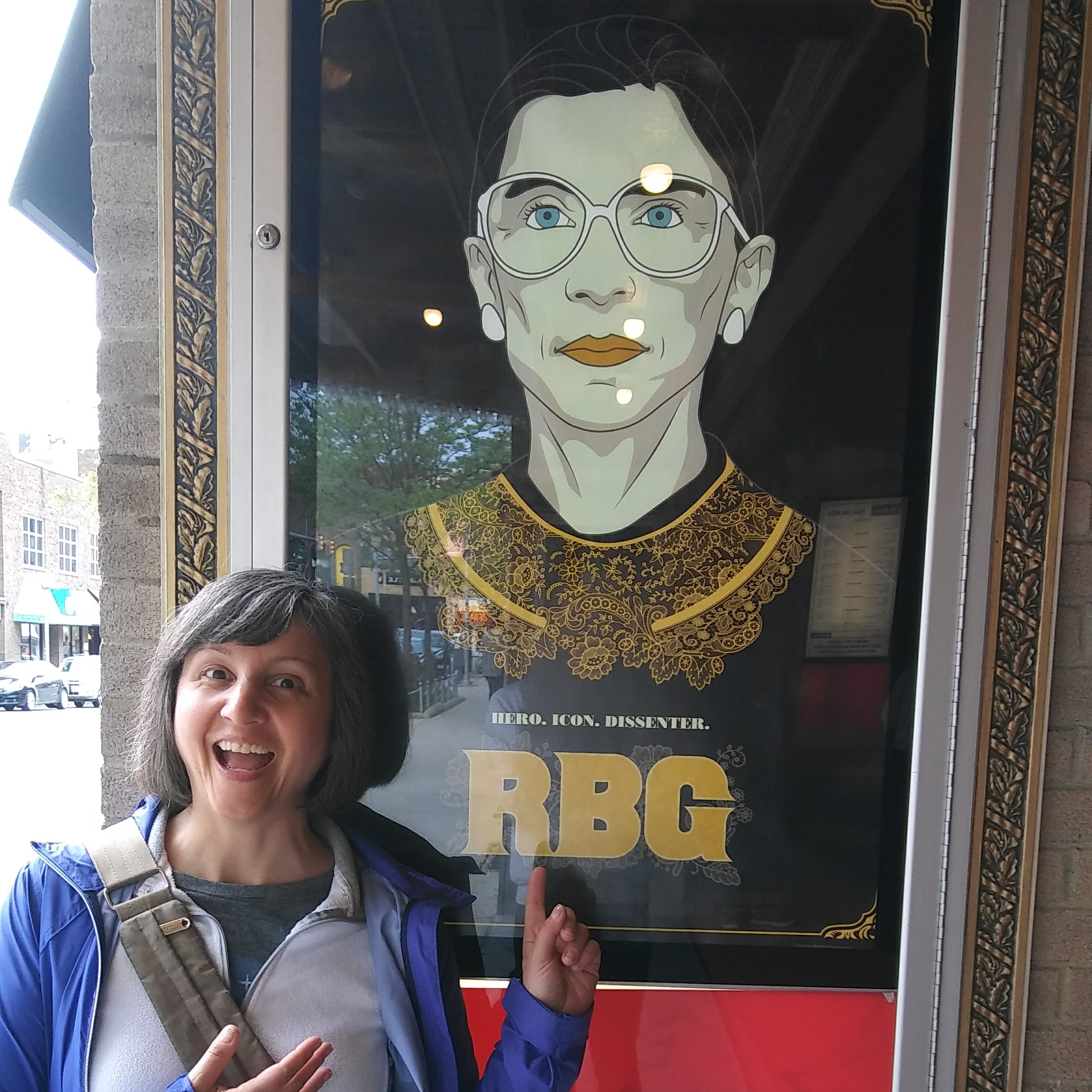Me standing in front of the RBG movie poster